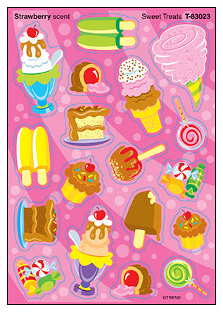 Sweet Treats Scratch 'n Sniff Mixed Shape Stinky Stickers (Strawberry Scent)