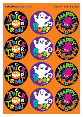 Trick or Treat Halloween Scratch 'n Sniff Stinky Stickers (Root Beer Scent)
