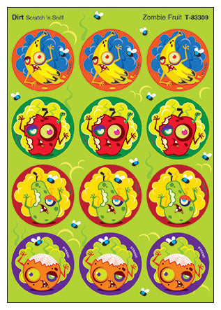 Zombie Fruit Scratch 'n Sniff Stinky Stickers (Dirt Scent) *NEW!