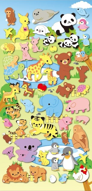 Zoo Animal Families Puffy Stickers