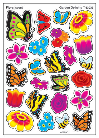 Garden Delights Floral Scented Scratch 'n Sniff Mixed Shape Stinky Stickers *NEW!