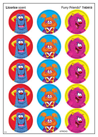 Furry Friends Monsters Scratch 'n Sniff Stinky Stickers (Licorice Scent)