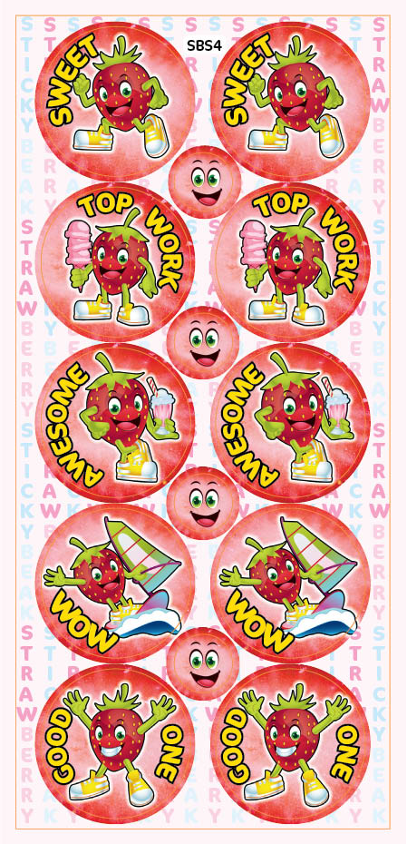 Sticky Beak Strawberry Scratch 'n' Sniff Stickers
