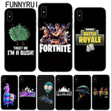 FUNNYRUI Battle Royale Fortnite Phone Case Soft Silicone Black TPU Cover For Apple iPhone X 8 8Plus 7 7Plus 6 6S Plus 5 5S SE
