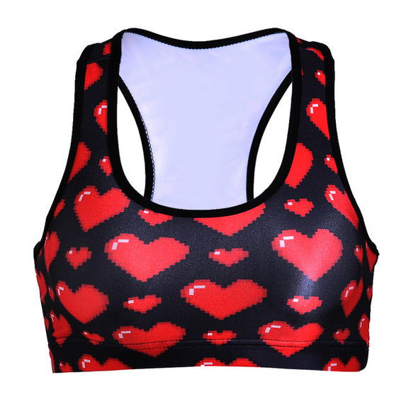 Video Game Hearts, 16 bit, Breathable Sports Bra