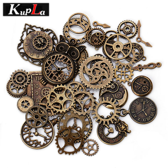 Steampunk Vintage Mixed Metal Clock & Gear Charms 40pcs/lot
