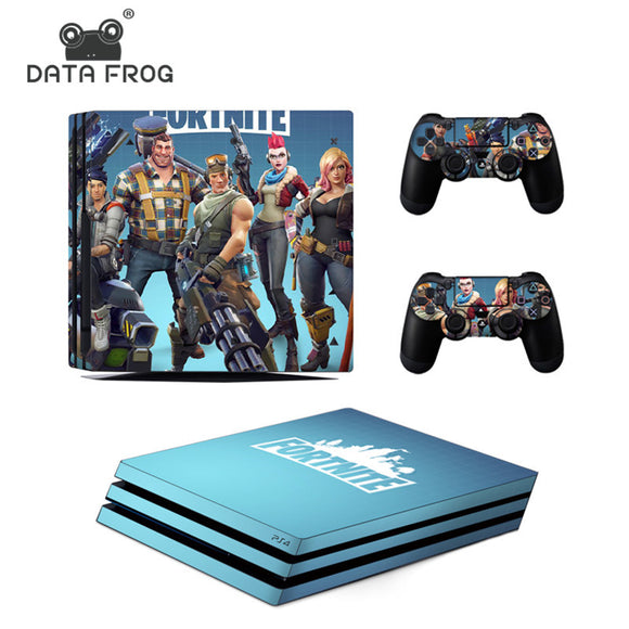 Data Frog Stickers For PS4 Pro Console Skin For Sony PlayStation PS4 Pro Controller Cover Sticker Fortnite Battle Roy