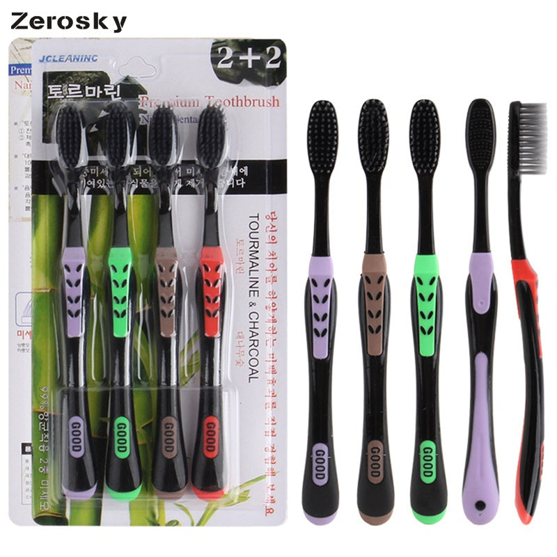 Zerosky 4PCS Soft Bamboo Charcoal Toothbrush - Bell'Art Cosmetics