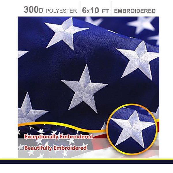 G128 American USA US Flag 6x10 ft Deluxe Embroidered Stars Sewn Stripes Brass
