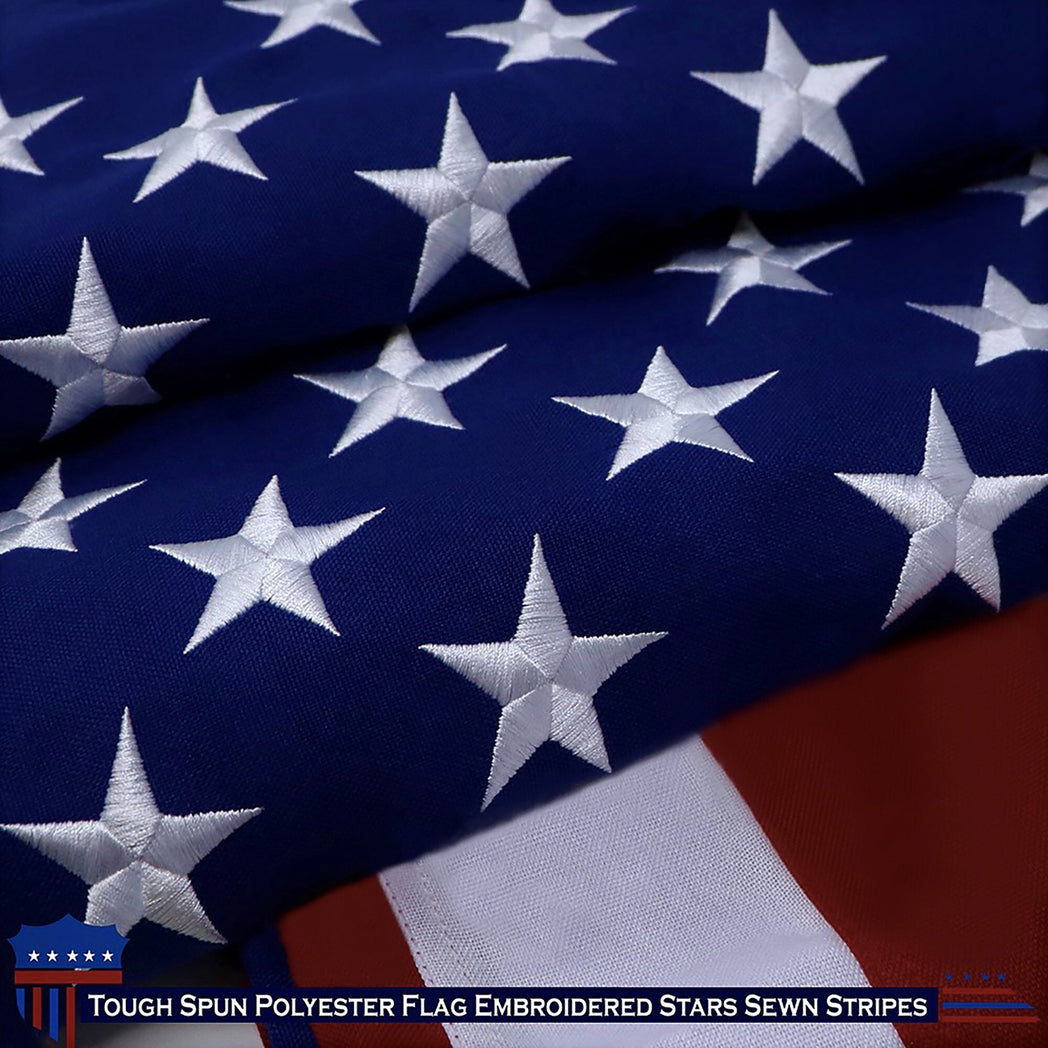 G128 American USA US Flag 4x6 ft Embroidered Stars Sewn Stripes Brass Grommets