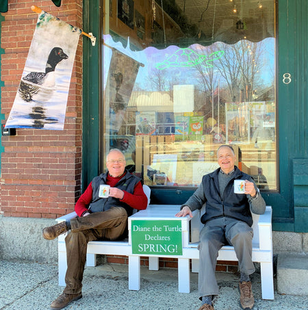 Diane the Turtle Declares Spring is Here!! March 3, 2020 Brad and Jim Tonner of TwinDesigns Gift Shop, Bristol, New Hampshire enjoying the first day of Spring!!