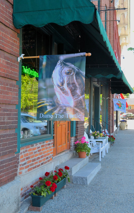 Diane the Turtle Flag outside the TwinDesigns Gift Shop in Bristol New Hampshire.