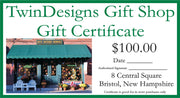$100.00 TwinDesigns Gift Shop Gift Certificate