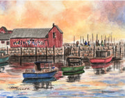 """Sunrise Rockport Massachusetts"" Boxed Note Cards Original Watercolor by Brad Tonner"