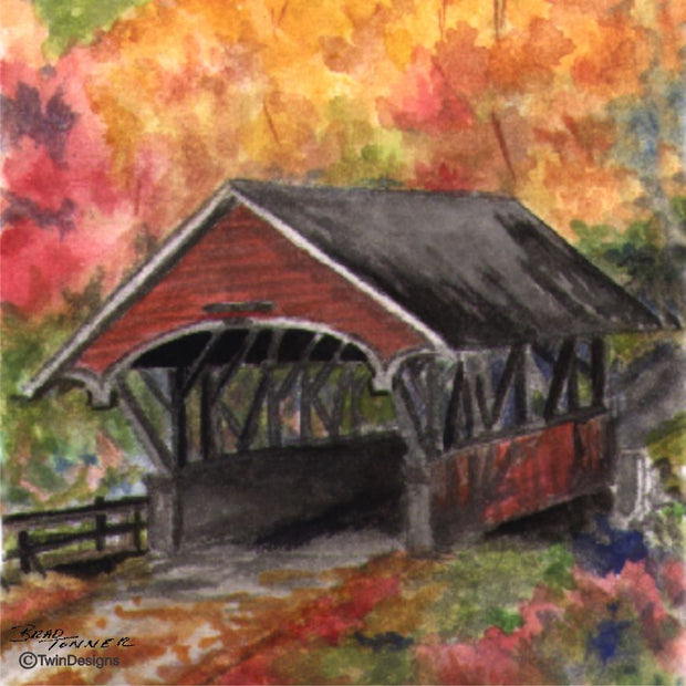 """Fall Flume Covered Bridge"" 11oz Ceramic Mug Original Watercolor by Brad Tonner"