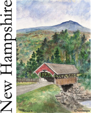 """Summer Flume Covered Bridge"" 11oz Ceramic Mug Original Watercolor by Brad Tonner"