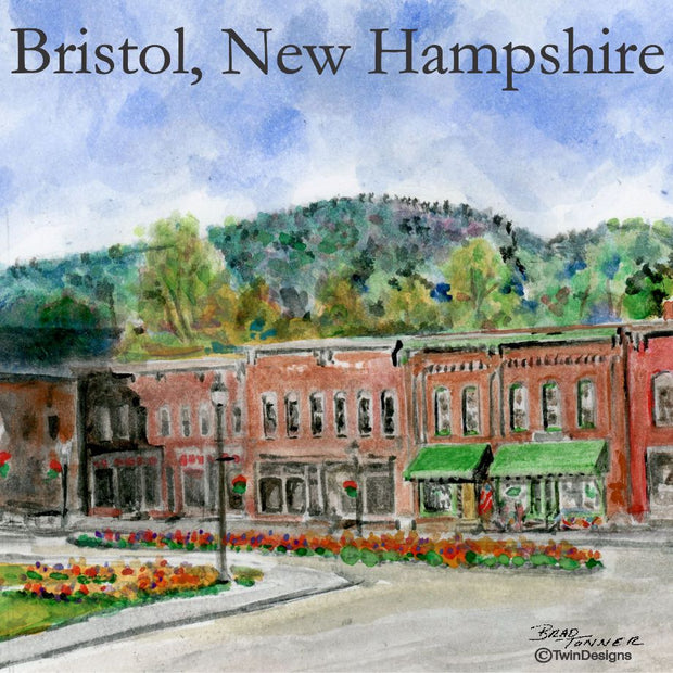 """Central Square Bristol New Hampshire"" 11oz Ceramic Mug Original Watercolor by Brad Tonner"