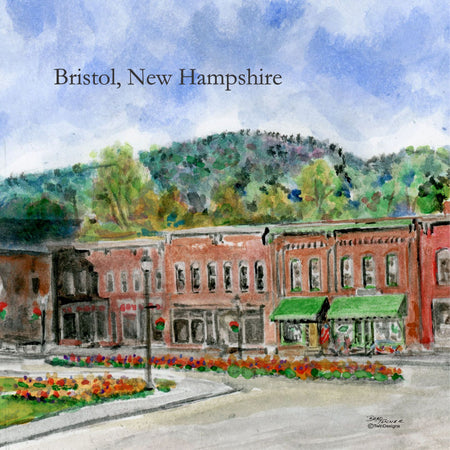 """Central Square Bristol New Hampshire""  Ceramic Trivet  Original Watercolor by Brad Tonner"