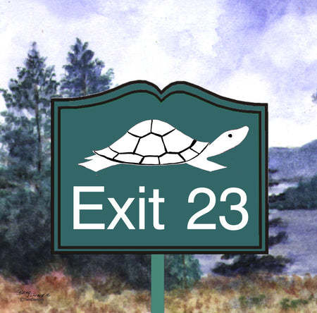 """Diane the Turtle Exit 23"" Ceramic Trivet Original Watercolor by Brad Tonner"