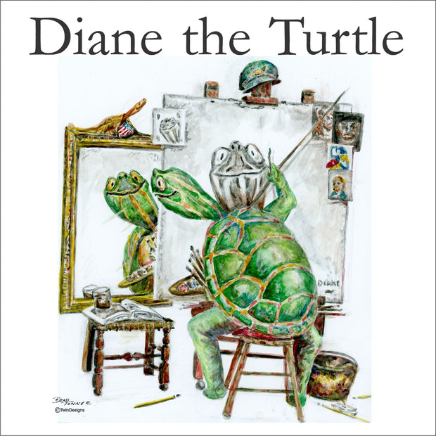 """Diane the Turtle Self Portrait""   Ceramic Trivet Original Watercolor by Brad Tonner"