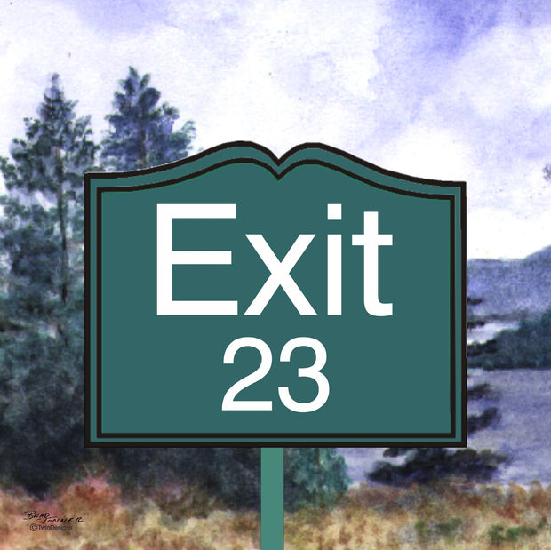 """ Exit 23"" Ceramic Trivet Original Watercolor by Brad Tonner"