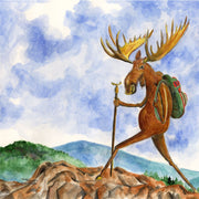 """Moose Hiker"" Ceramic Trivet Original Watercolor by Brad Tonner"
