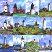 """Lighthouses of New England""  Ceramic Trivet  Original Watercolor by Brad Tonner"