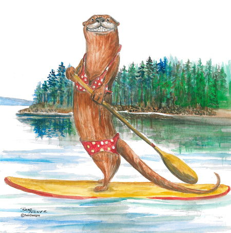 """Paddle Boarding Otter""  11oz Ceramic Mug Original Watercolor by Brad Tonner"