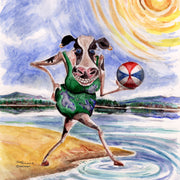 """Cow Having a Ball""  Ceramic Trivet Original Watercolor by Brad Tonner"