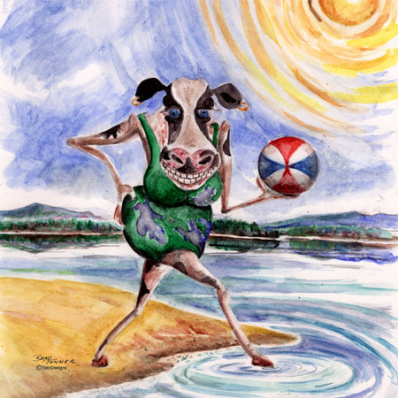 """Cow Having a Ball""  11oz Ceramic Mug Original Watercolor by Brad Tonner"