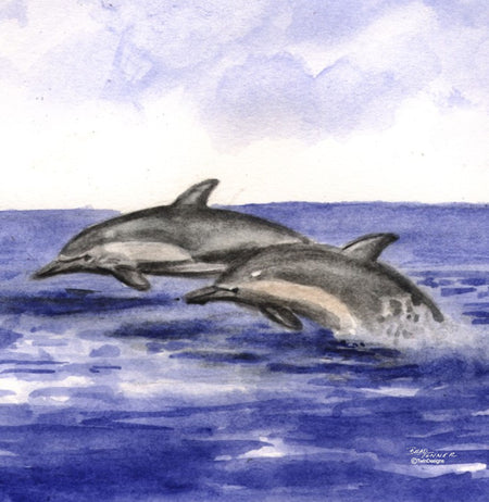 """ Two Dolphins"" Ceramic Trivet Original Watercolor by Brad Tonner"
