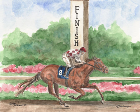 """Horse Race to the Finish"" Boxed Note Cards Original Watercolor by Brad Tonner"
