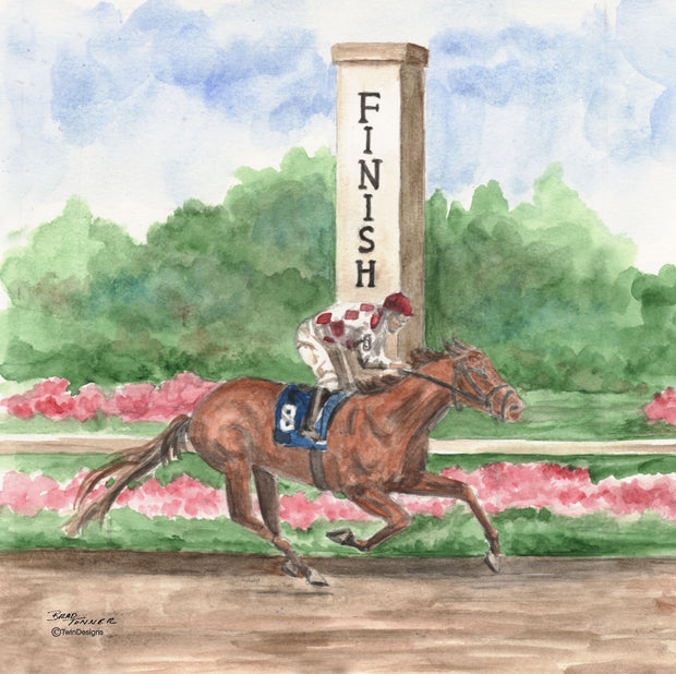 """ Horse Race to the Finish"" Ceramic Trivet Original Watercolor by Brad Tonner"