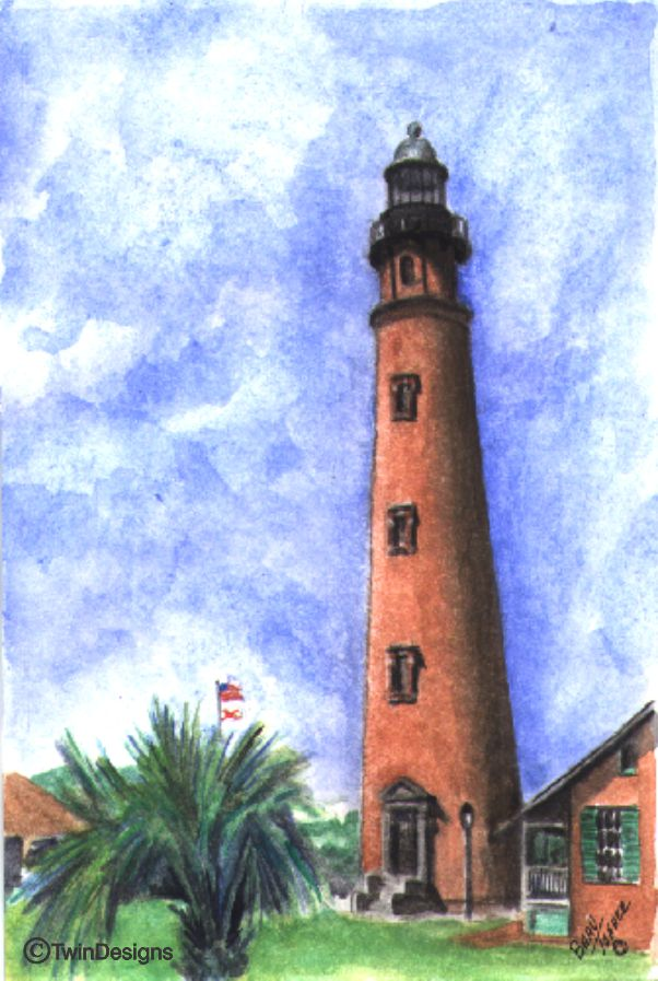 """Ponce De Leon Inlet Lighthouse Note Cards Original Watercolor by Brad Tonner"