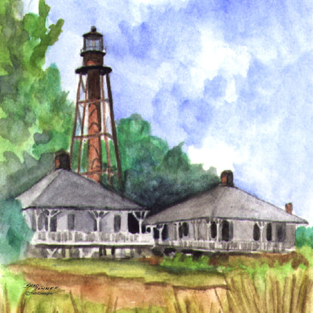 """Sanibel Island Lighthouse Florida"" Ceramic Trivet Original Watercolor by Brad Tonner"