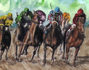 """Horse Race"" Boxed Note Cards Original Watercolor by Brad Tonner"