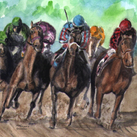 """Horse Race"" Ceramic Trivet Original Watercolor by Brad Tonner"