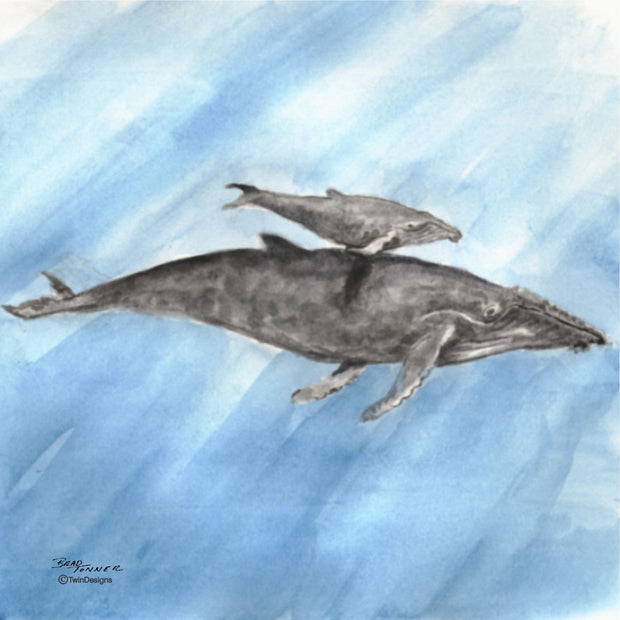 """Humpback Whale"" Ceramic Trivet Original Watercolor by Brad Tonner."