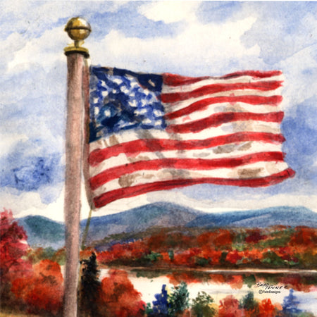 """Fall Flag"" Ceramic Trivet Original Watercolor by Brad Tonner"