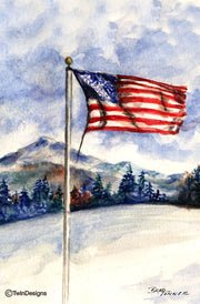 """Winter Flag"" Boxed Note Cards Original Watercolor by Brad Tonner"