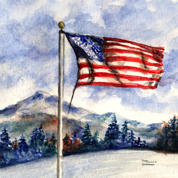 """Winter Flag"" Ceramic Trivet Original Watercolor by Brad Tonner"