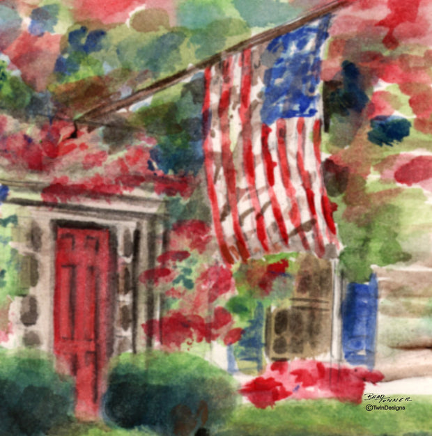 """Patriotic Flag House""  Ceramic Trivet  Original Watercolor by Brad Tonner"
