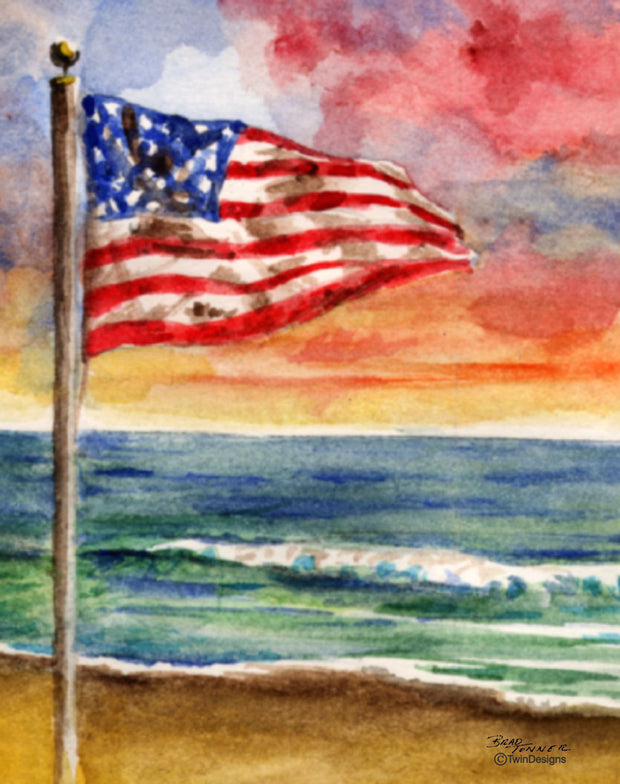 """Beach Flag"" Boxed Note Cards Original Watercolor by Brad Tonner"
