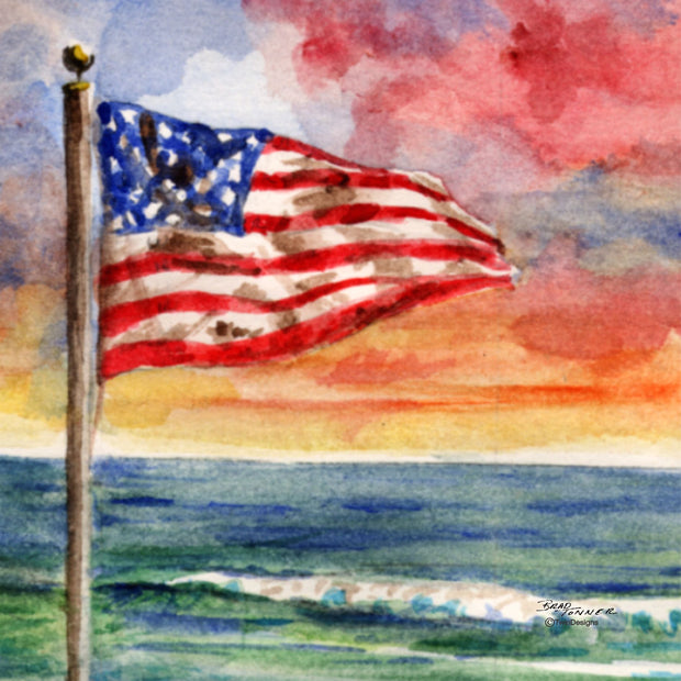 """Beach Flag"" Ceramic Trivet Original Watercolor by Brad Tonner"