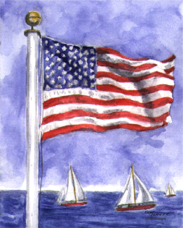 """Sailboat Flag""  Boxed Note Cards Original Watercolor by Brad Tonner"