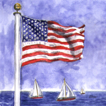 """Sailing  Flag ""  Ceramic Trivet  Original Watercolor by Brad Tonner"