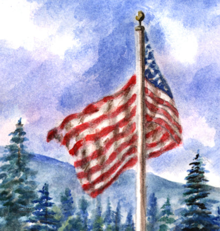 """Mountain Flag"" 11oz Ceramic Mug Original Watercolor by Brad Tonner"