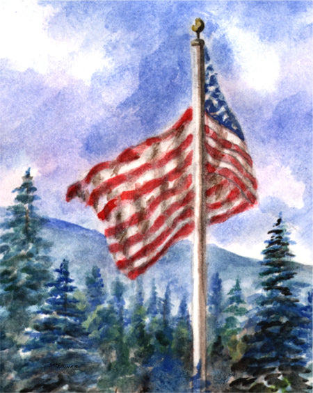 """Mountain Flag"" Boxed Note Cards Original Watercolor by Brad Tonner"