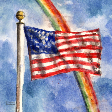 """Rainbow Flag"" Ceramic Trivet Original Watercolor by Brad Tonner"