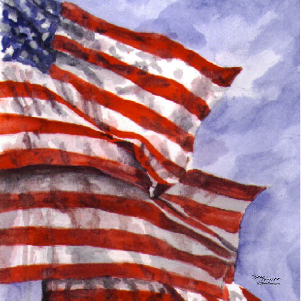 """Lakeside Flag""  Ceramic Trivet  Original Watercolor by Brad Tonner"